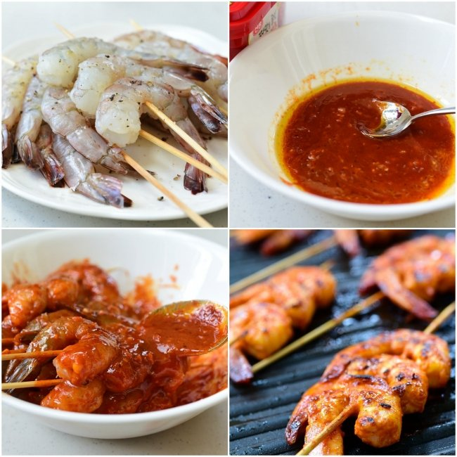 PicMonkey Collage Spicy Grilled Shrimp e1559021994412 - Spicy Grilled Shrimp Skewers (Gochujang Saewu Gui)
