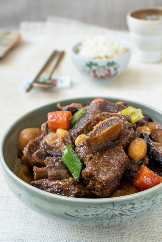 Korean braised beef short ribs in a bowl