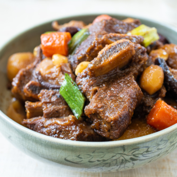 Korean braised short ribs with vegetables