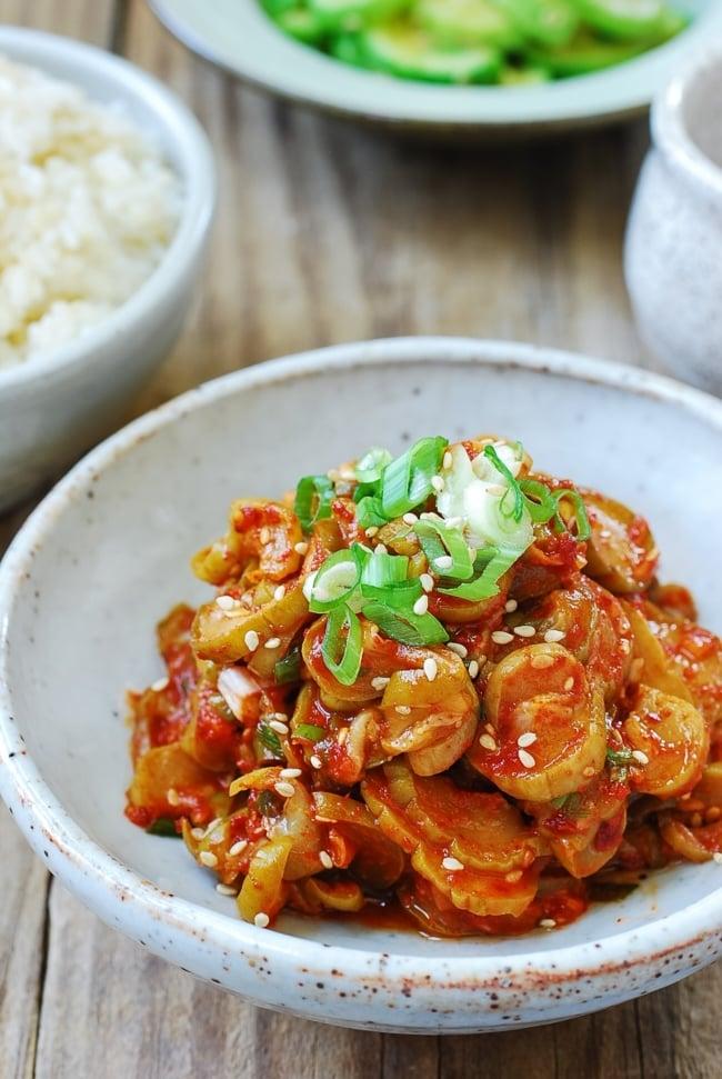 Red spicy seasoned Korean pickle slices