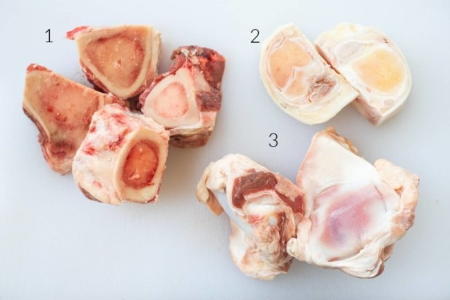 3 different cow bones cut up