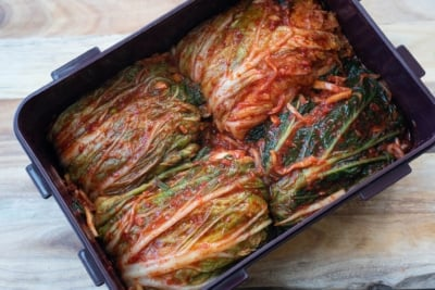 traditional kimchi in a kimchi container