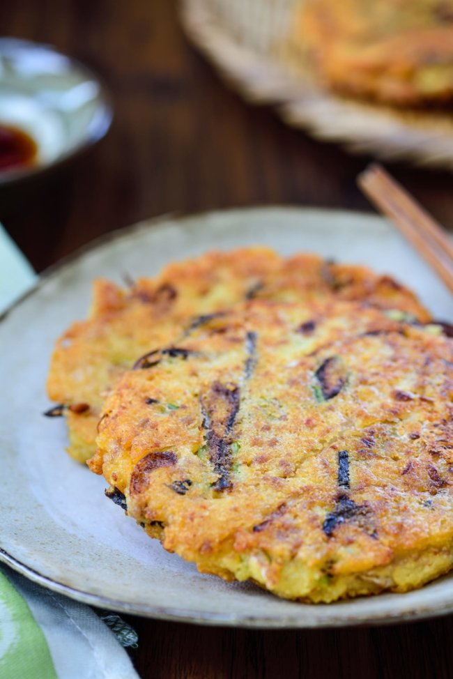 Korean mung bean pancake served with a dipping sauce