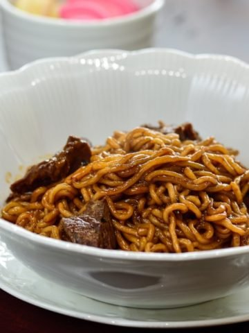 Ram-don instant noodle dish