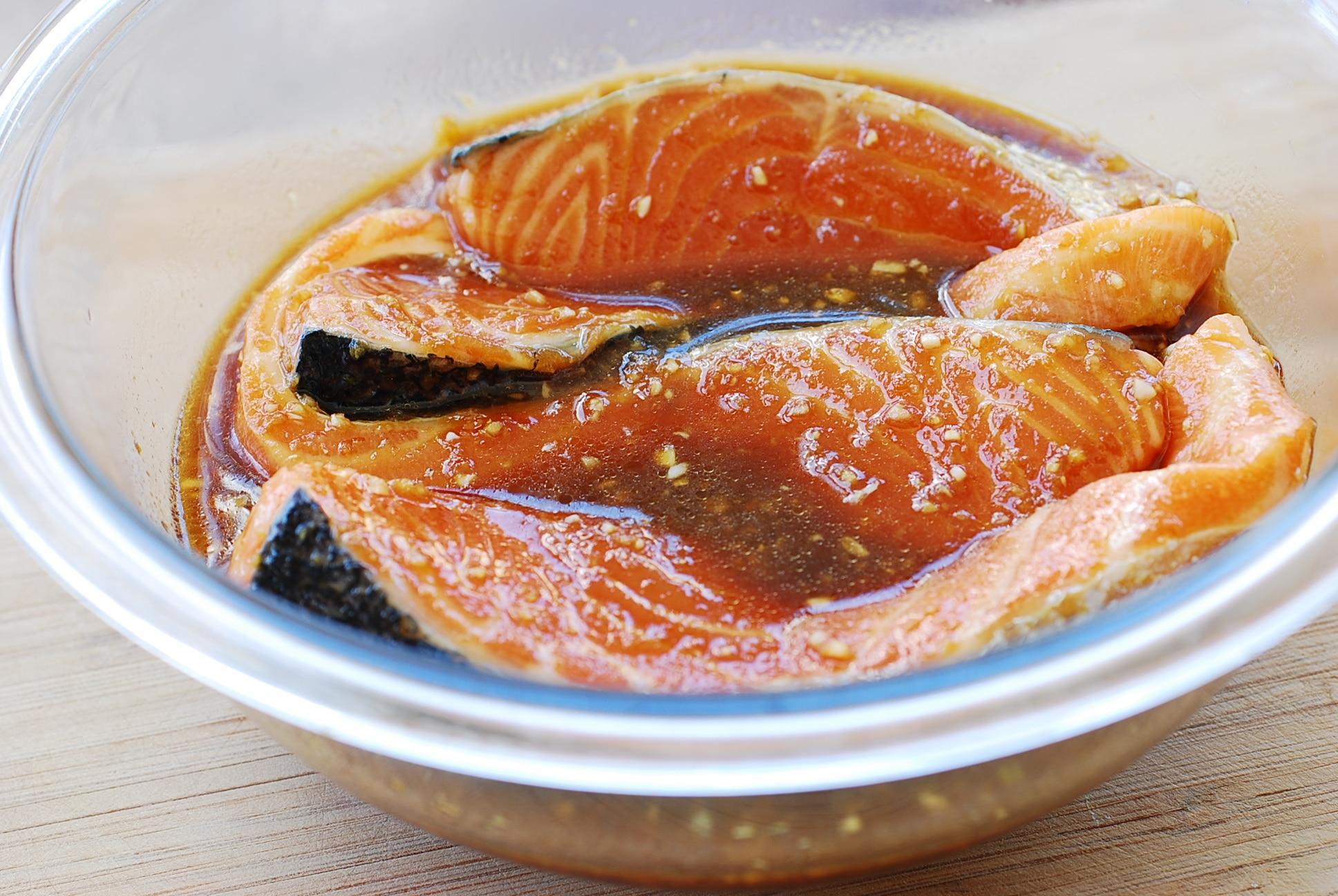 Salmon marinated in bulgogi sauce