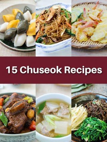 6-photo collage of Korean Chuseok recipes