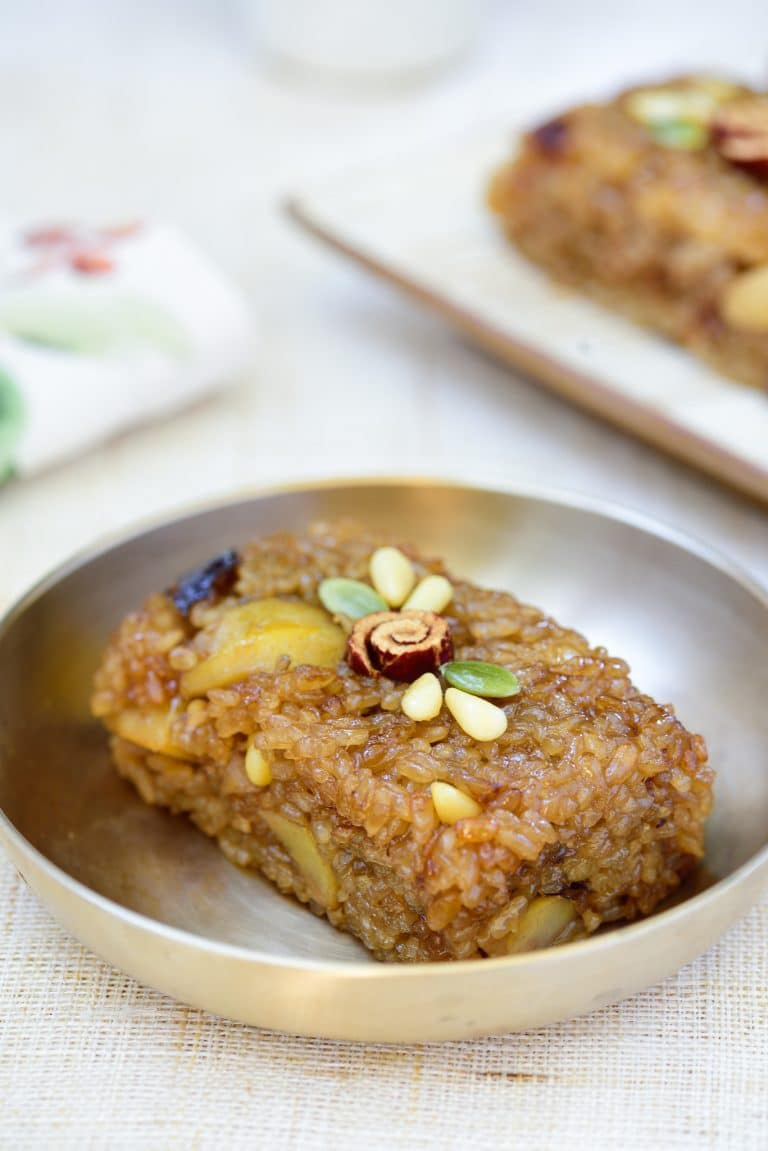 Square shaped brown sweet rice dessert