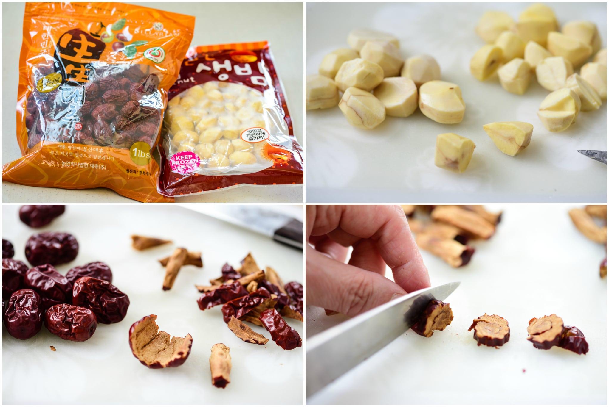 Preparing chestnuts and jujubes for Korean sweet rice dessert