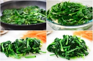 4-photo collage for blanching, rinsing cutting and seasoning spinach