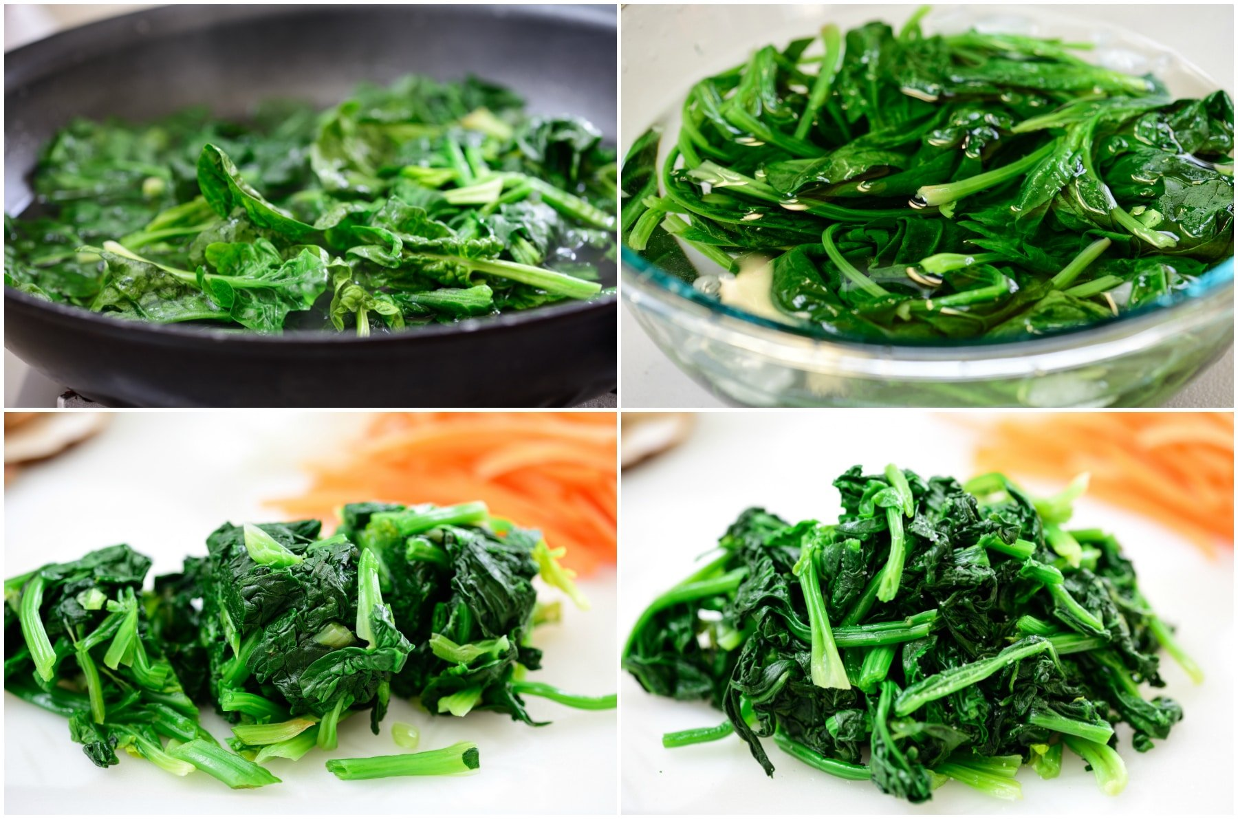 Spinach for japchae 1 - Japchae (Stir-Fried Starch Noodles with Beef and Vegetables)