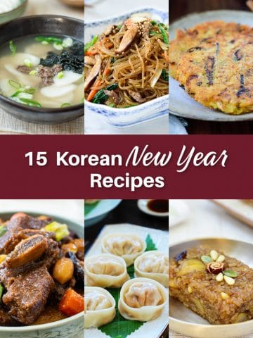6-photo collage for 15 Korean New Year Recipes