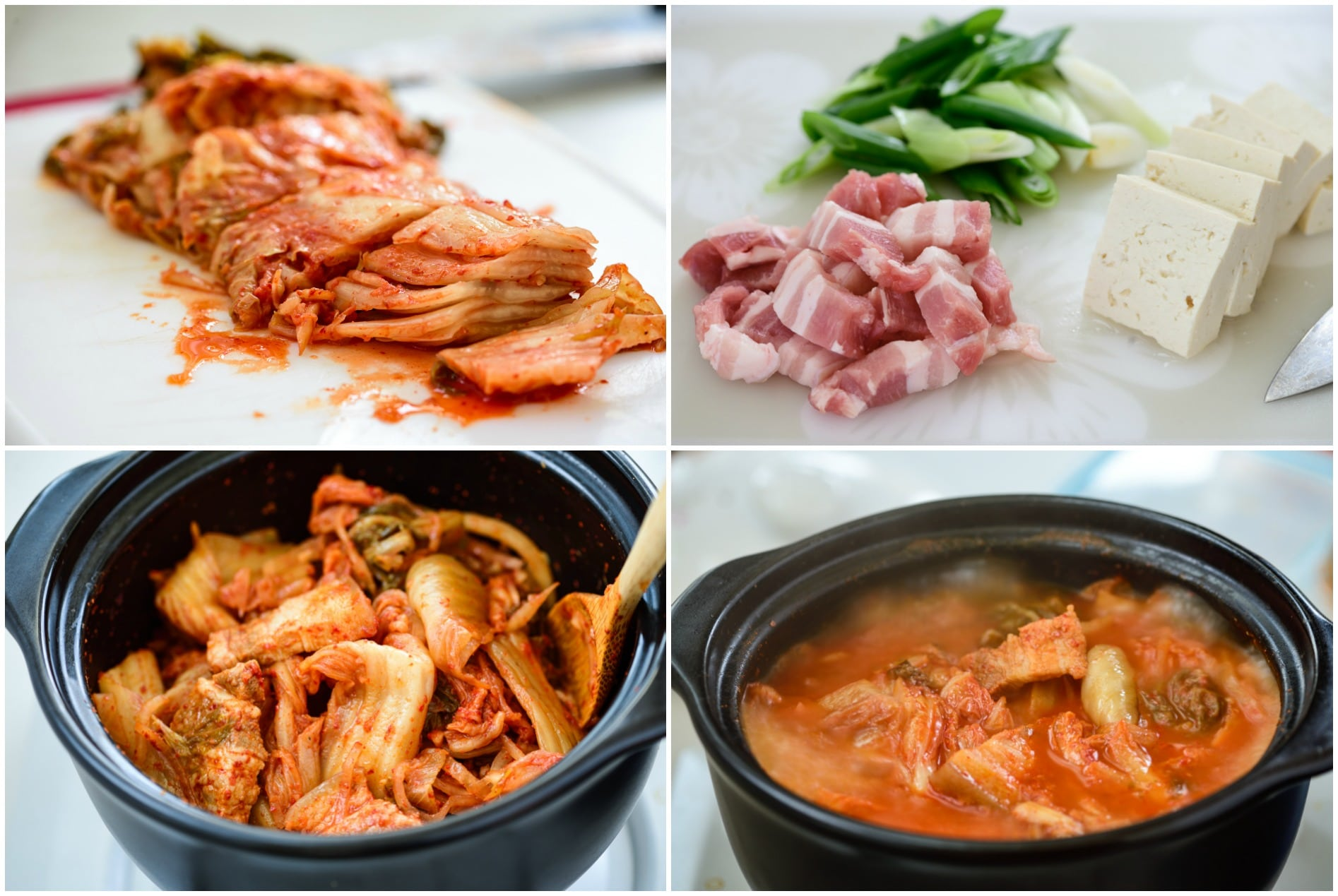 4 photo collage of kimchi stew steps - cutting and cooking pork, kimchi, tofu and scallions