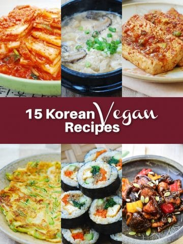 6 Korean v15 Korean Vegan Recipes collage of six photos and text overlay