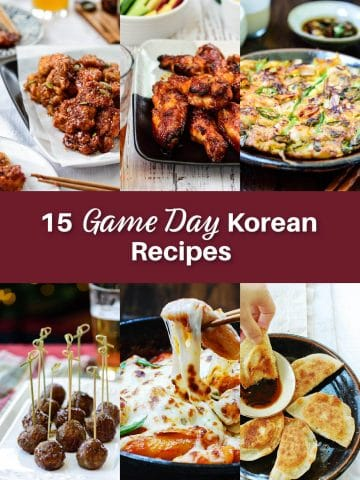 6-photo collage of 15 game day Korean recipes