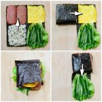 4 photo collage showing how to fold kimbap into a square