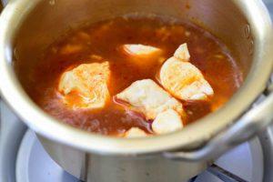 soft tofu in a spicy broth